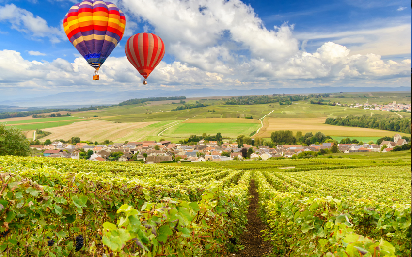 Hot air balloon ride over Burgundy wine region