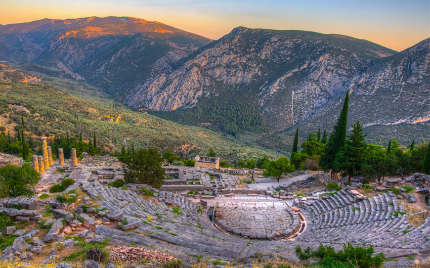 ruins of theatre at ancient Delphi