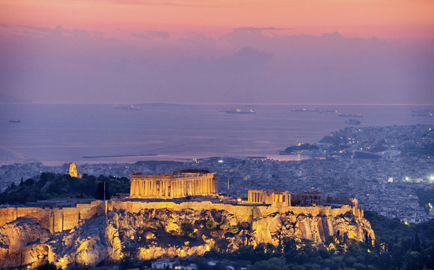 Acrópolis at sunset, Athens