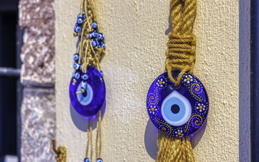 blue glass evil eye amulet