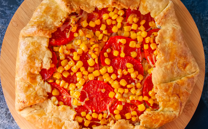 Tomato and sweet corn galette
