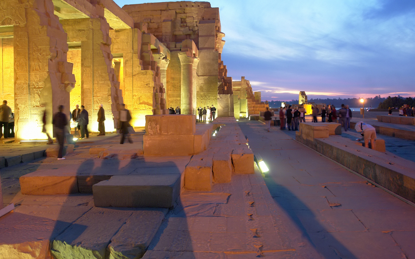 View of illuminated Kom Ombo Temple by night