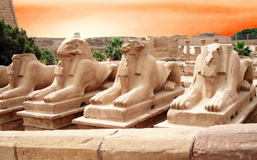 Ram-headed Sphinxes in Karnak Temple, Luxor