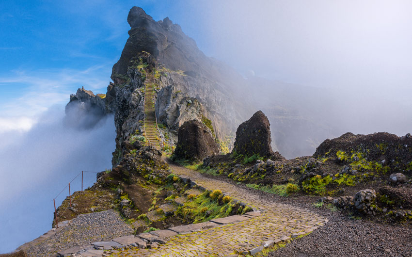 Mountain trail in Madeira above the clouds