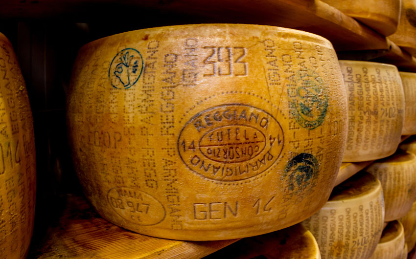 Parmagiano Reggiano cheese aging