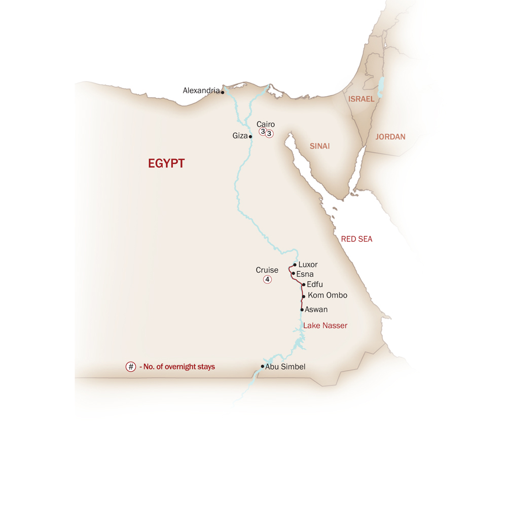 Egypt Map  for EGYPT'S SPECTACULAR JOURNEY