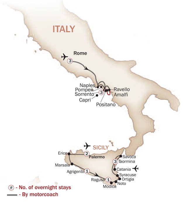 Italy Map  for ITALY'S SOUTHERN SPLENDORS (Small Group Tours Available)