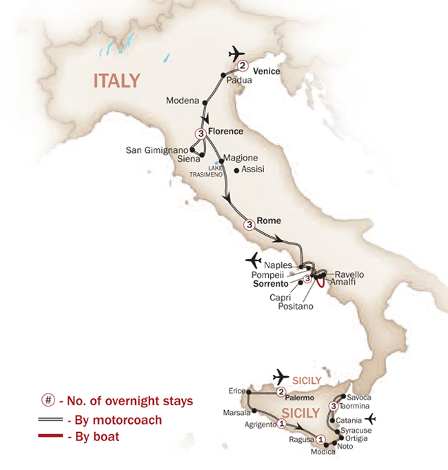 Italy Map  for GRAND TOUR OF ITALY & SICILY (Small Group Tours Available)
