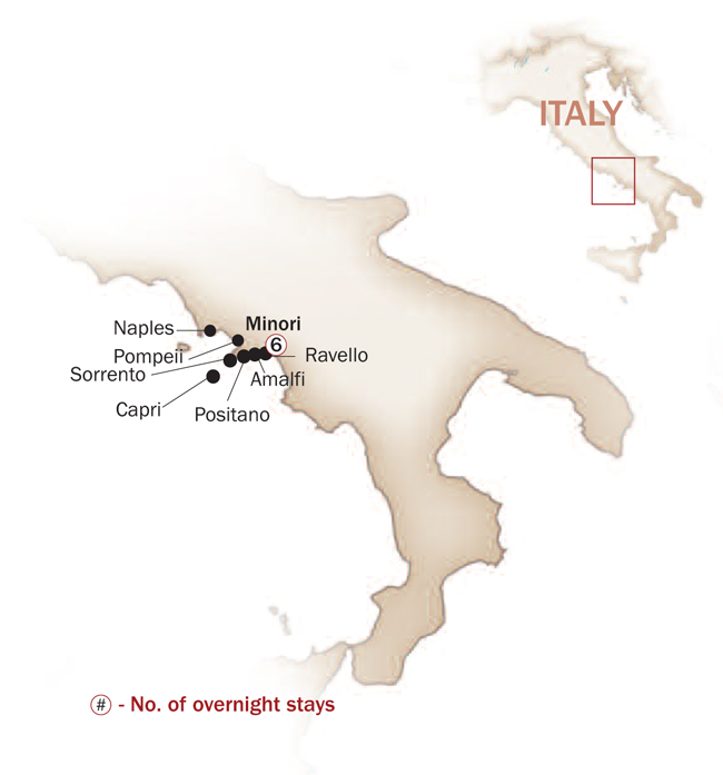 Italy Map  for PICTURESQUE AMALFI COAST