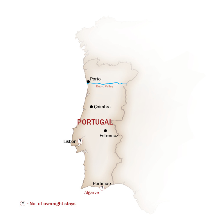 Portugal Map  for PORTUGAL'S LISBON & ALGARVE