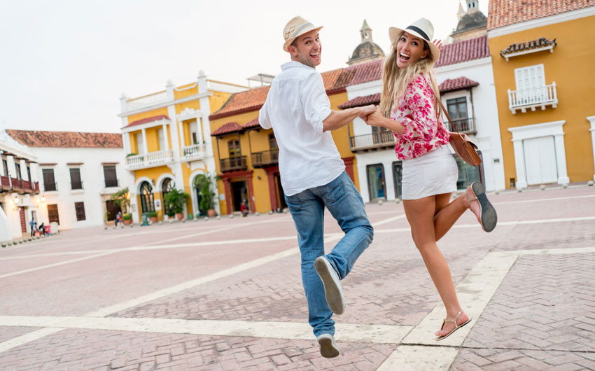 Tourists having fun in Cartagena