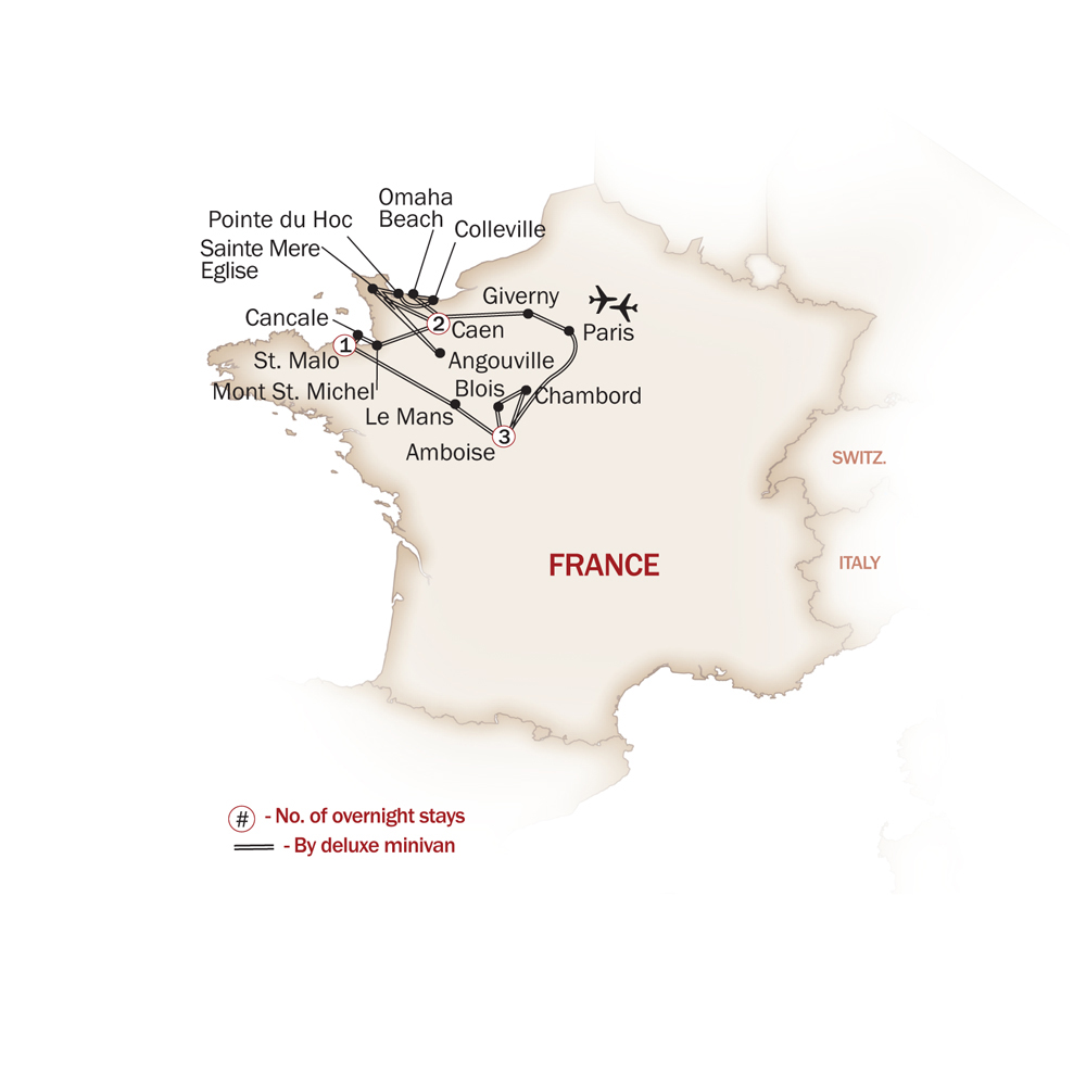 France Map  for NORMANDY & CHATEAUX REGION
