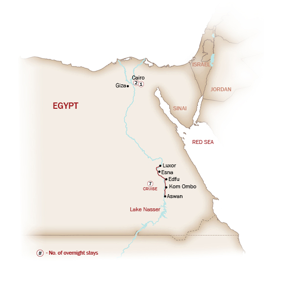 Egypt Map  for THE JEWEL OF THE NILE