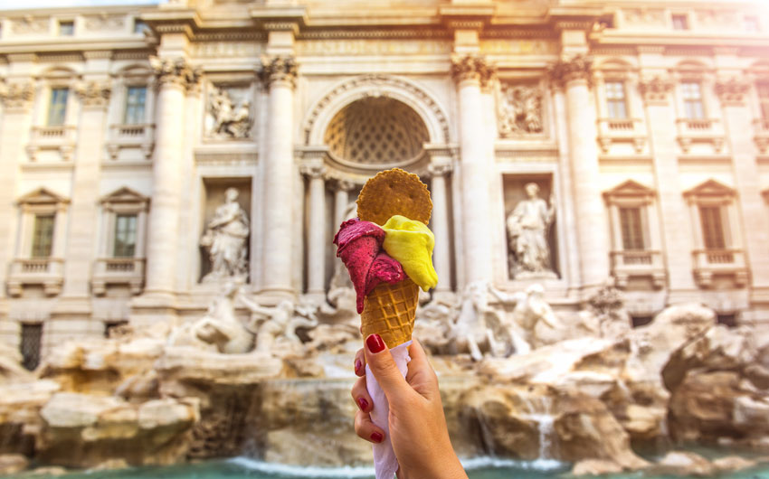 Famous Italian Gelato at Trevi Fountain, Rome