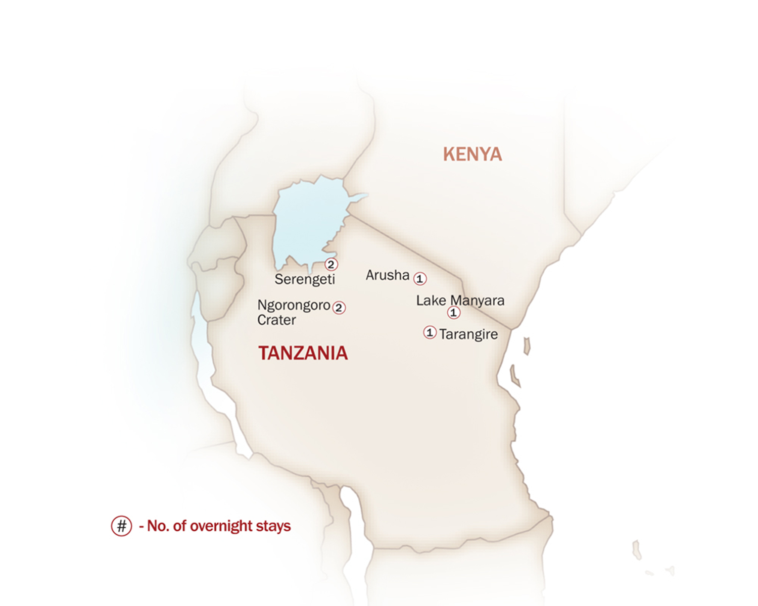 Eastern & Southern Africa Map  for WILDLIFE ADVENTURE TO TANZANIA