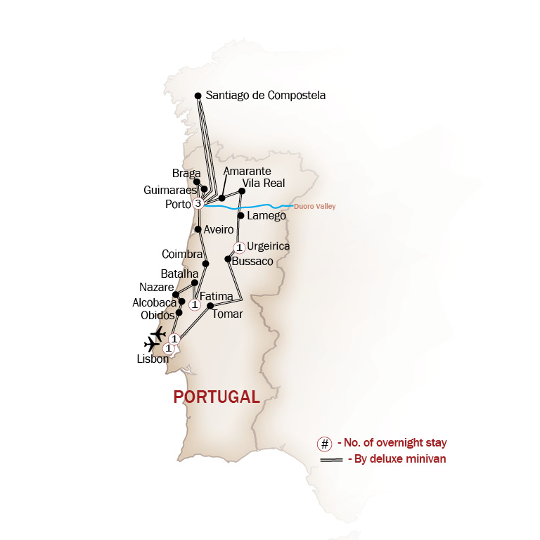 Portugal Map  for THE NORTH OF PORTUGAL