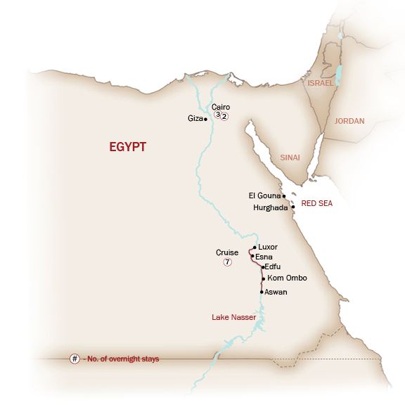 Egypt Map  for BREEZES OF THE NILE