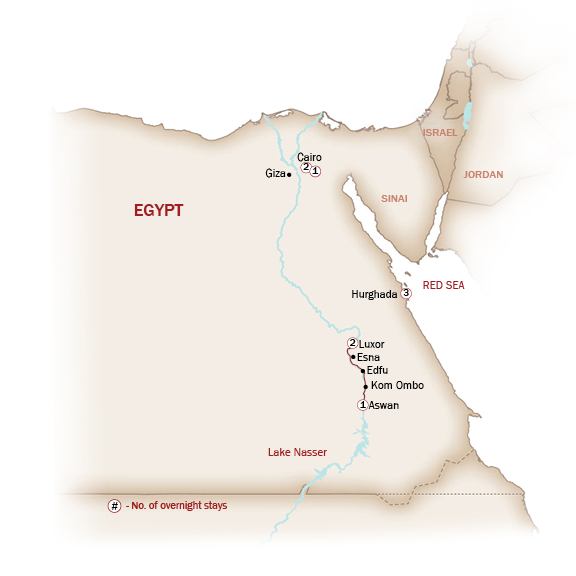 Egypt Map  for EGYPT: SAND & SEA