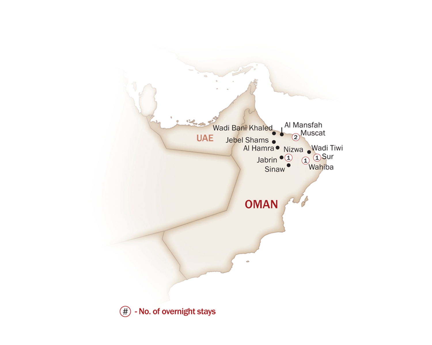 Oman Map  for DISCOVER OMAN