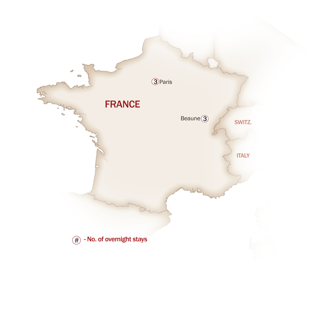 France Map  for DISCOVER PARIS & BURGUNDY