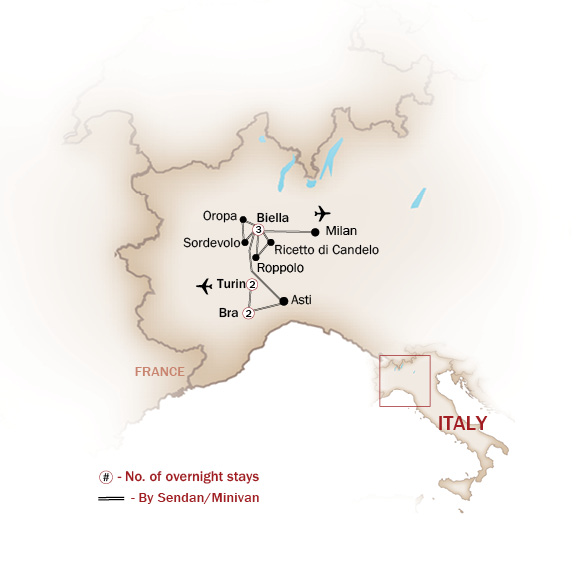 Italy Map  for Piedmont – Land of Lakes, Wine & Truffle