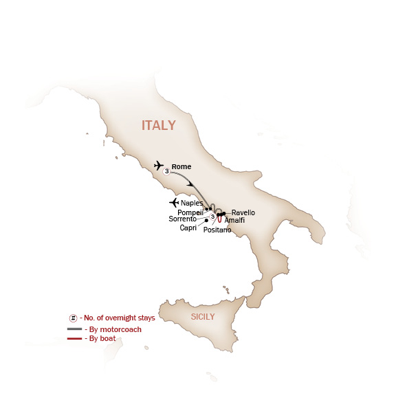 Italy Map  for ITALY'S SUNBELT, ROME & THE AMALFI COAST (Small Group Tours Available)