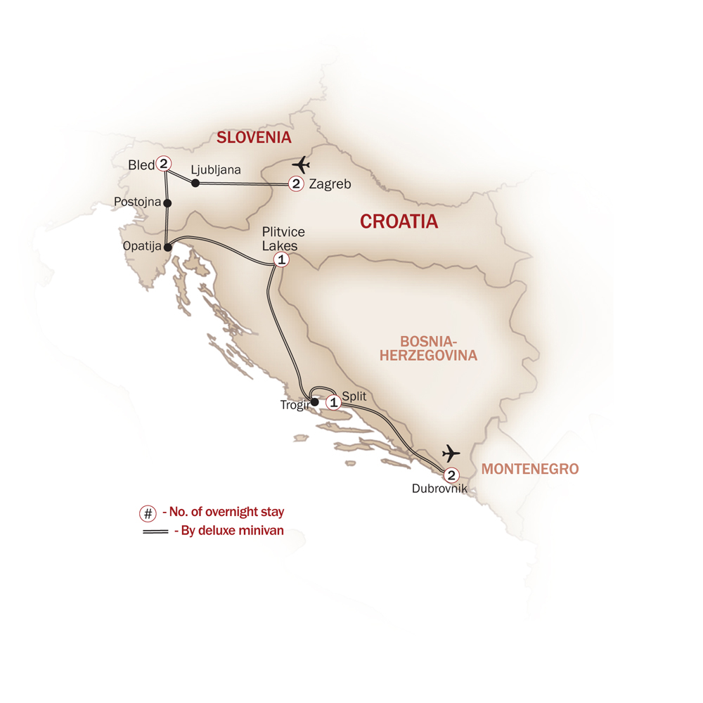 Croatia Map  for THE JEWELS OF CROATIA'S DALMATIAN COAST