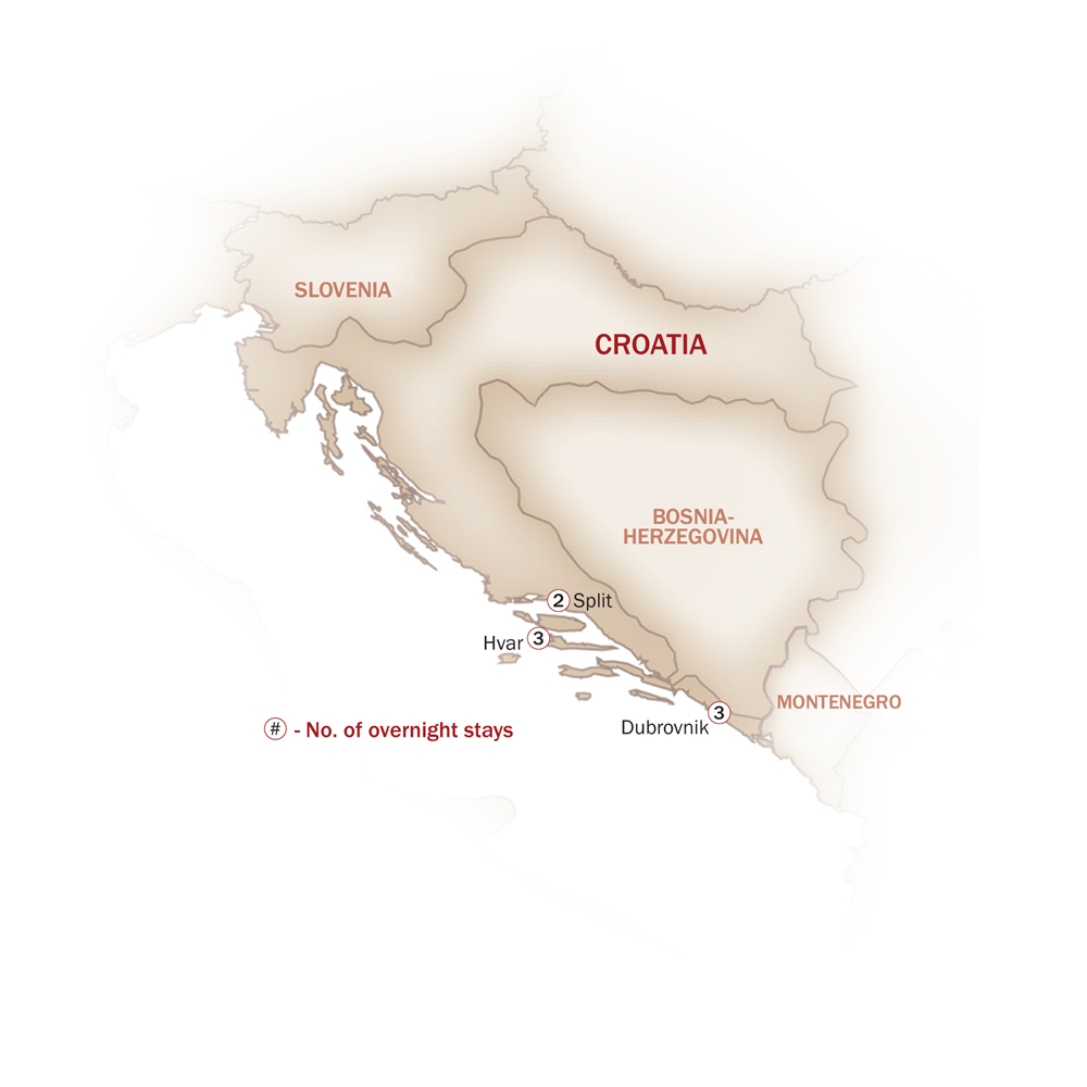 Croatia Map  for ROMANTIC CROATIA