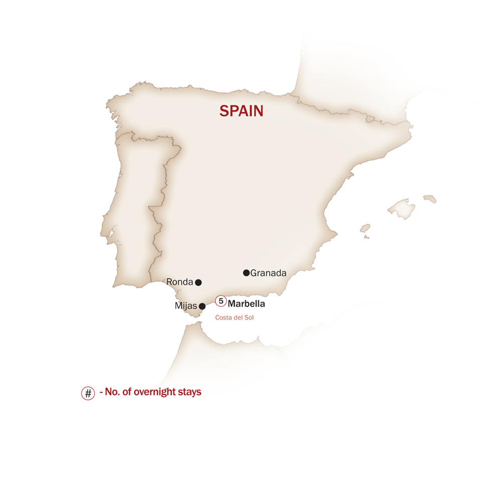 Spain Map  for THE JEWELS OF COSTA DEL SOL & ANDALUCIA