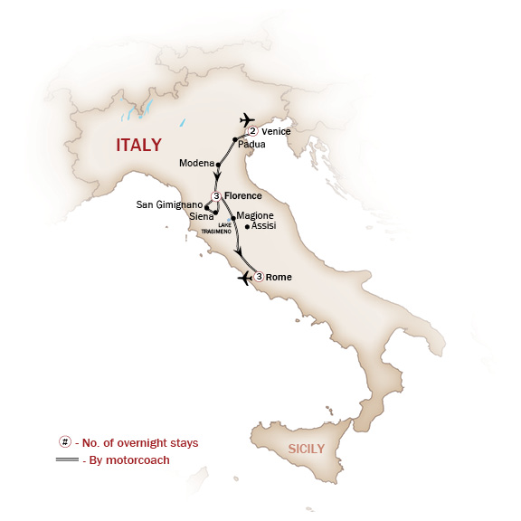 Italy Map  for ITALY'S NORTHERN HIGHLIGHTS  (Small Group Tours Available)
