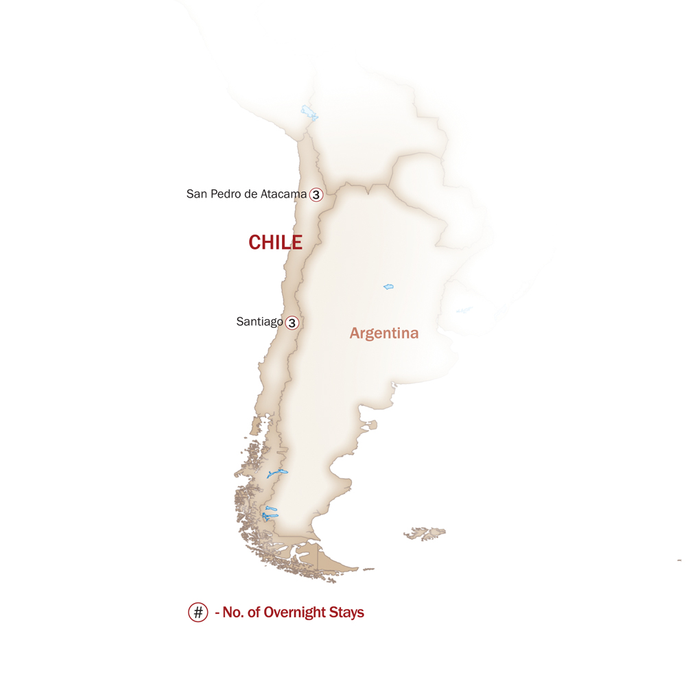Chile Map  for SANTIAGO & ATACAMA - BY PRIVATE CAR