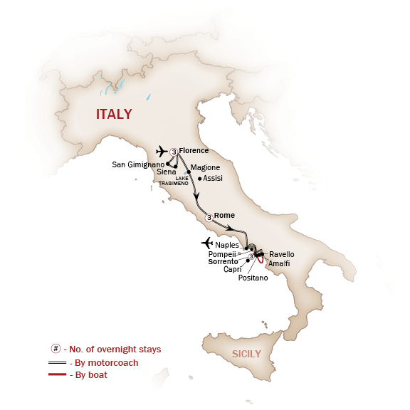 Italy Map  for BEST OF ITALY (Small Group Tours Available)