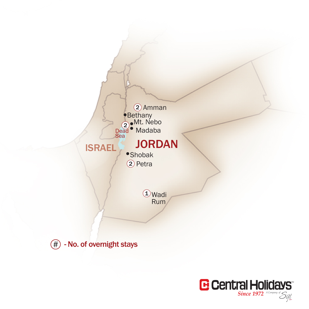 Jordan Map  for FROM PETRA TO THE DEAD SEA