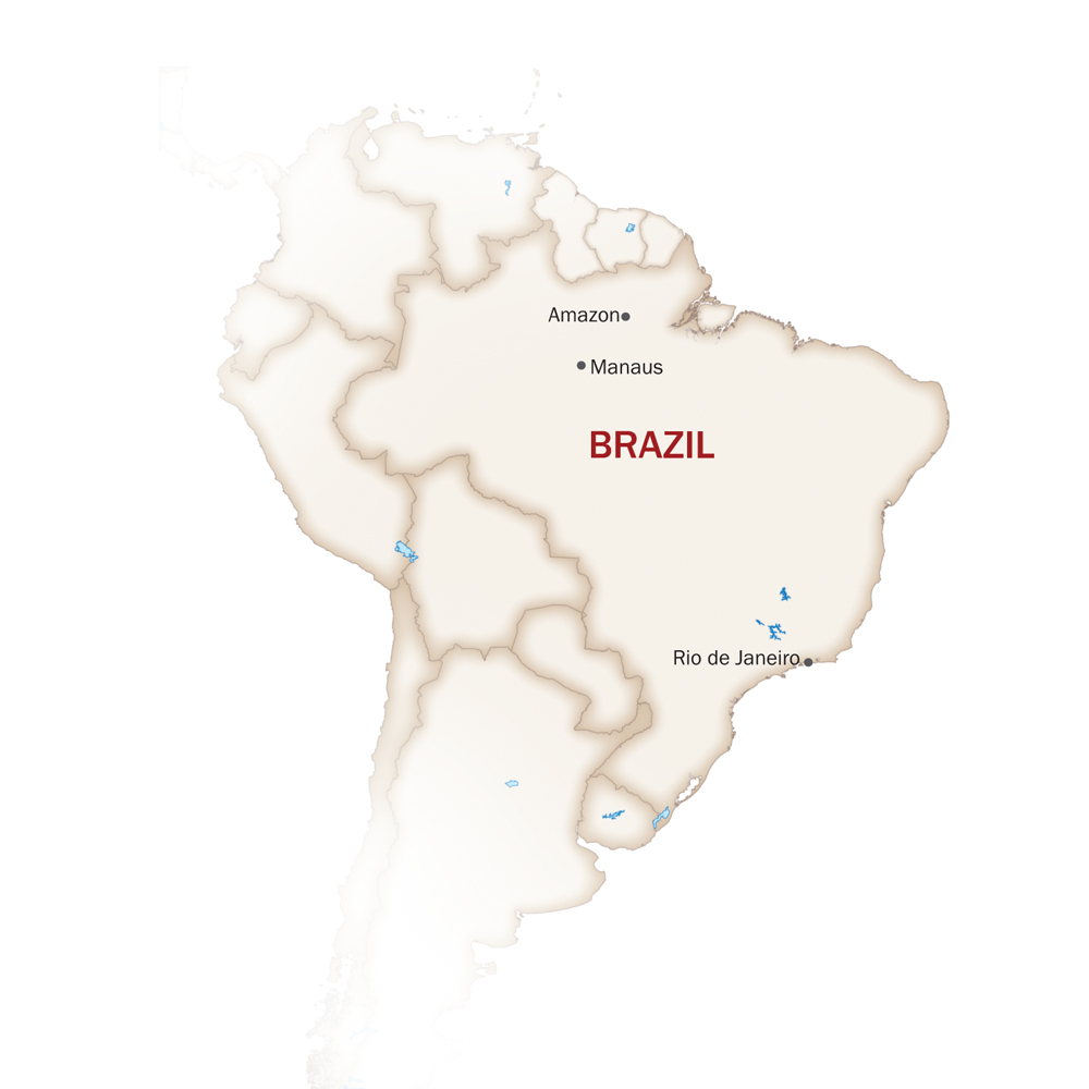Brazil Map  for IBEROSTAR GRAND AMAZON CRUISE - SOLIMOES RIVER PROGRAM
