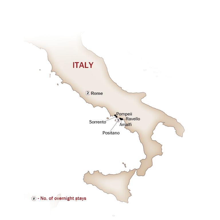 Italy Map  for TIMELESS ROME & DREAMY AMALFI COAST