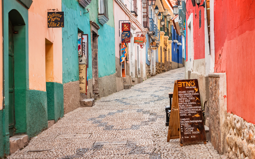 Colorful alley in old town La Paz