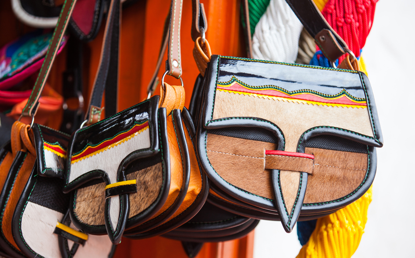 Colombian traditional leather satchel from Antioquia called Carriel, Medellin