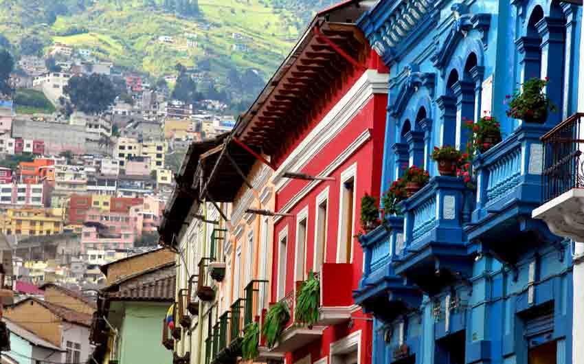 Colonial Style and Green Mountains in Quito