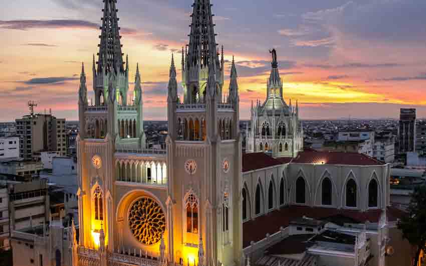 Scenic sunset sky with illuminated Guayaquil Metropolitan Cathedral