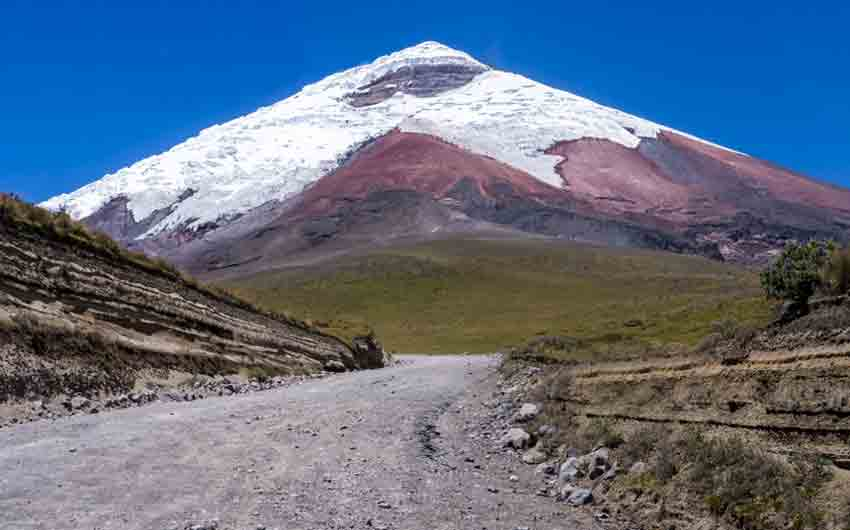 Snow capped Cotopaxi Volcano