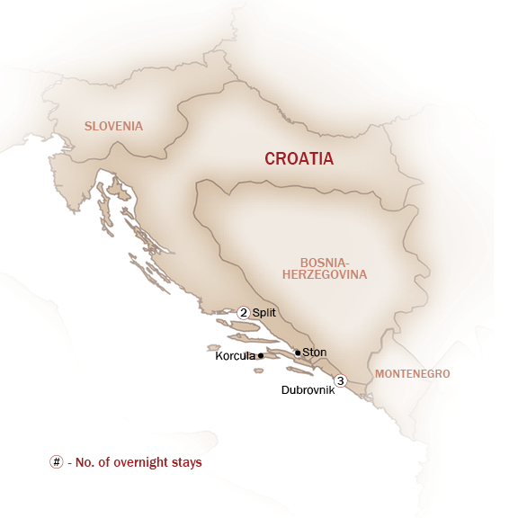 Croatia Map  for WINE & DINE IN CROATIA
