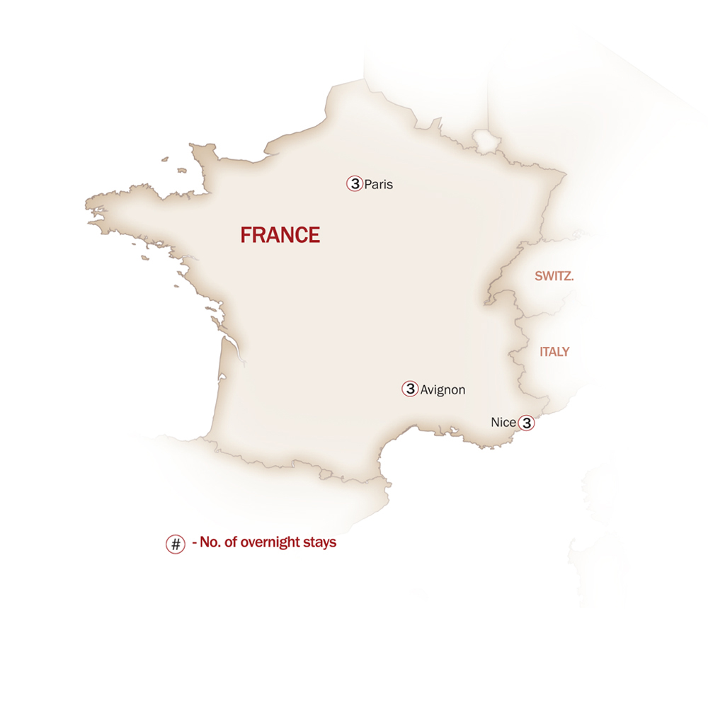 France Map  for PARIS, PROVENCE & FRENCH RIVIERA