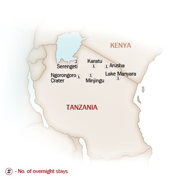 Eastern & Southern Africa Map  for TANZANIA, THE CRADLE OF HUMANKIND
