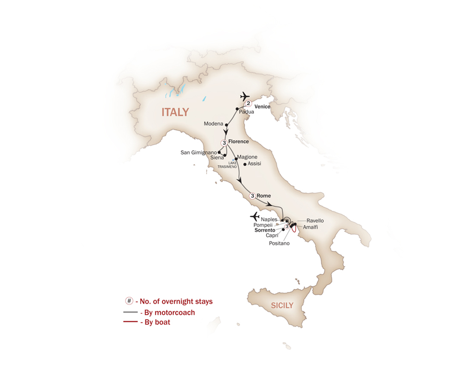 Italy Map  for MAGNIFICENT ITALY & THE AMALFI COAST  (Small Group Tours Available)