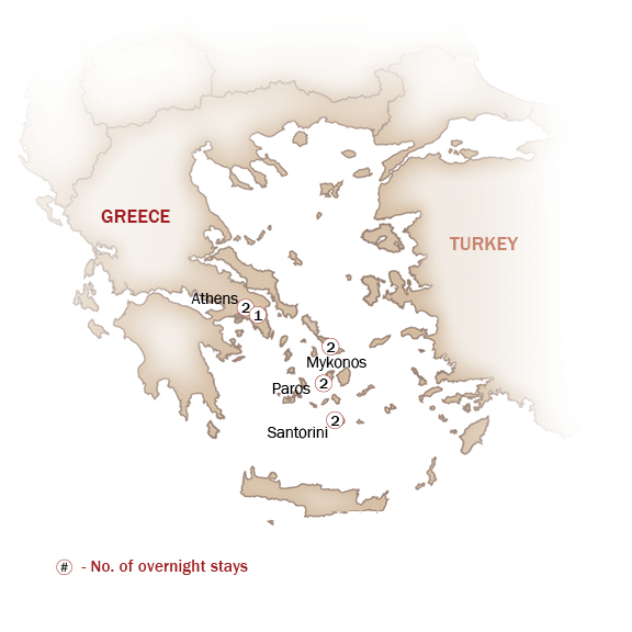 Greece Map  for Athens, Mykonos, Paros & Santorini