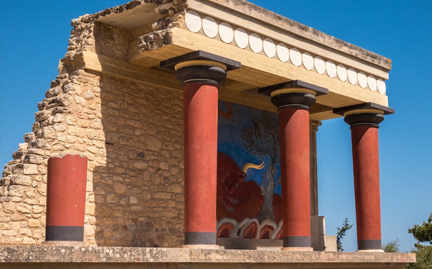 The restored north entrance to the Minoan Palace at Knossos. Crete
