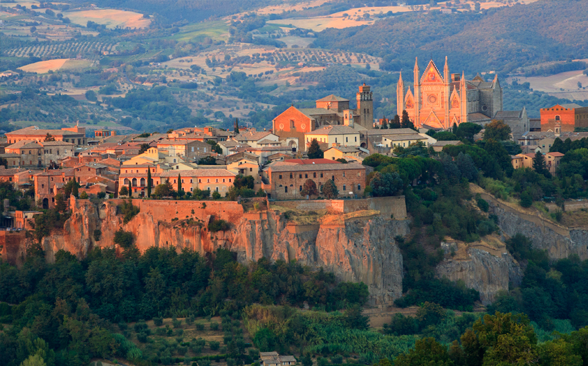 Landscape view of part of the medieval town of Orvieto