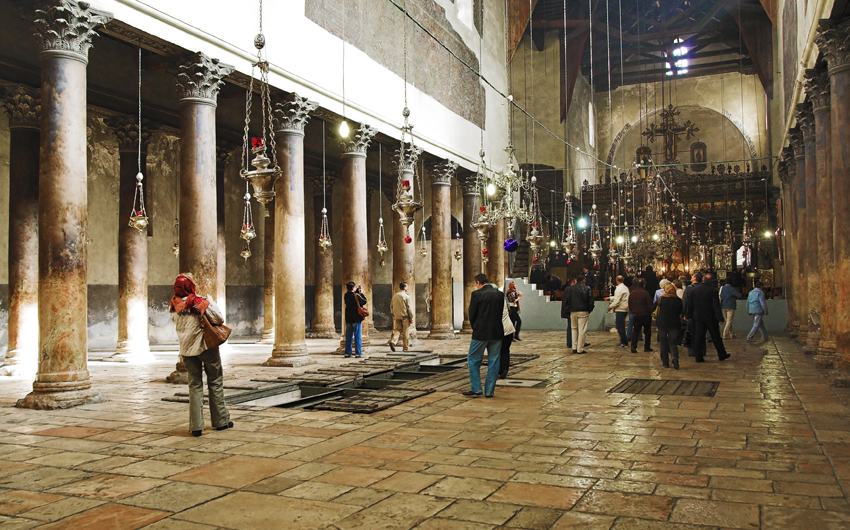 Interior of Church of the Nativity in Bethlehem