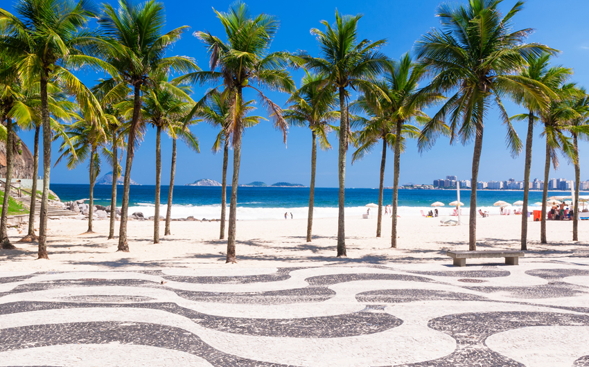 Copacabana beach with palms and mosaic of sidewalk in Rio de Janeiro