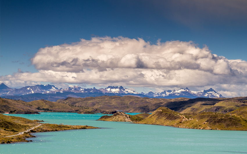 Mountains and lake at Puerto Natales